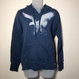 Small American Eagle Distressed Hooded Sweatshirt